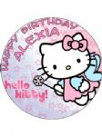 7.5 Personalised Hello Kitty Princess Edible Icing or Wafer Cake Top Topper New